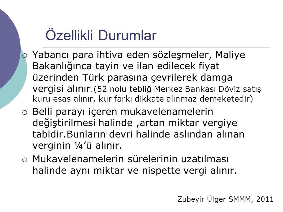 Zübeyir Ülger SMMM, 2011 Özellikli Durumlar  Yabancı para ihtiva eden sözleşmeler, Maliye Bakanlığınca tayin ve ilan edilecek fiyat üzerinden Türk pa