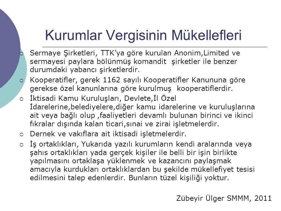 Zübeyir Ülger SMMM, 2011 Kurumlar Vergisinin Mükellefleri  Sermaye Şirketleri, TTK'ya göre kurulan Anonim,Limited ve sermayesi paylara bölünmüş komandit şirketler ile benzer durumdaki yabancı şirketlerdir.