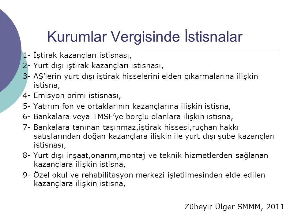 Zübeyir Ülger SMMM, 2011 Kurumlar Vergisinde İstisnalar 1- İştirak kazançları istisnası, 2- Yurt dışı iştirak kazançları istisnası, 3- AŞ'lerin yurt d