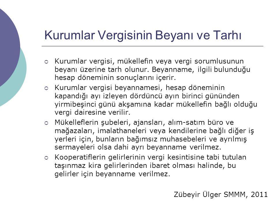 Zübeyir Ülger SMMM, 2011 Kurumlar Vergisinin Beyanı ve Tarhı  Kurumlar vergisi, mükellefin veya vergi sorumlusunun beyanı üzerine tarh olunur. Beyann