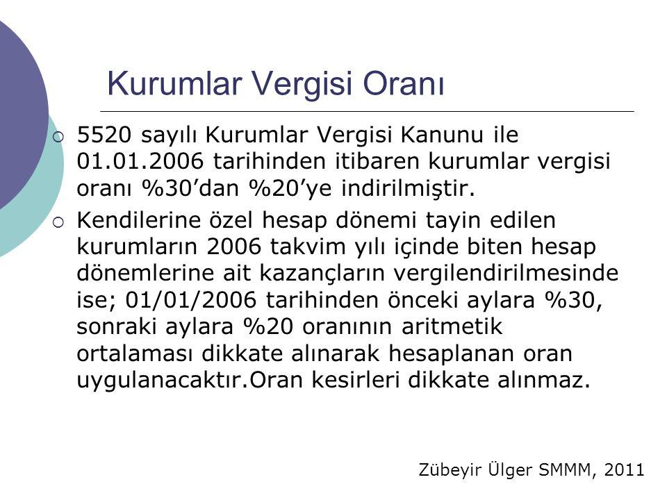 Zübeyir Ülger SMMM, 2011 Kurumlar Vergisi Oranı  5520 sayılı Kurumlar Vergisi Kanunu ile 01.01.2006 tarihinden itibaren kurumlar vergisi oranı %30'dan %20'ye indirilmiştir.