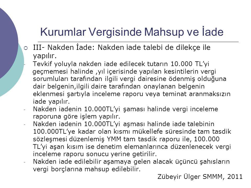Zübeyir Ülger SMMM, 2011 Kurumlar Vergisinde Mahsup ve İade  III- Nakden İade: Nakden iade talebi de dilekçe ile yapılır.