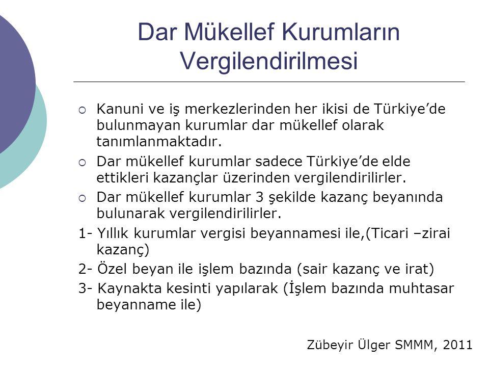 Zübeyir Ülger SMMM, 2011 Dar Mükellef Kurumların Vergilendirilmesi  Kanuni ve iş merkezlerinden her ikisi de Türkiye'de bulunmayan kurumlar dar mükel