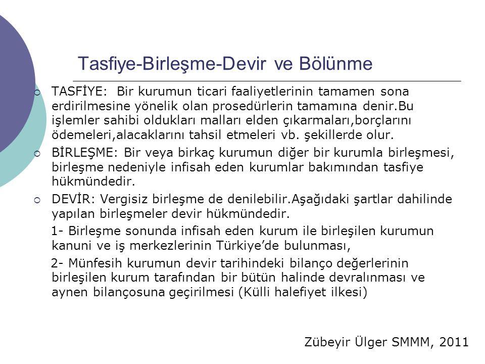Zübeyir Ülger SMMM, 2011 Tasfiye-Birleşme-Devir ve Bölünme  TASFİYE: Bir kurumun ticari faaliyetlerinin tamamen sona erdirilmesine yönelik olan prose