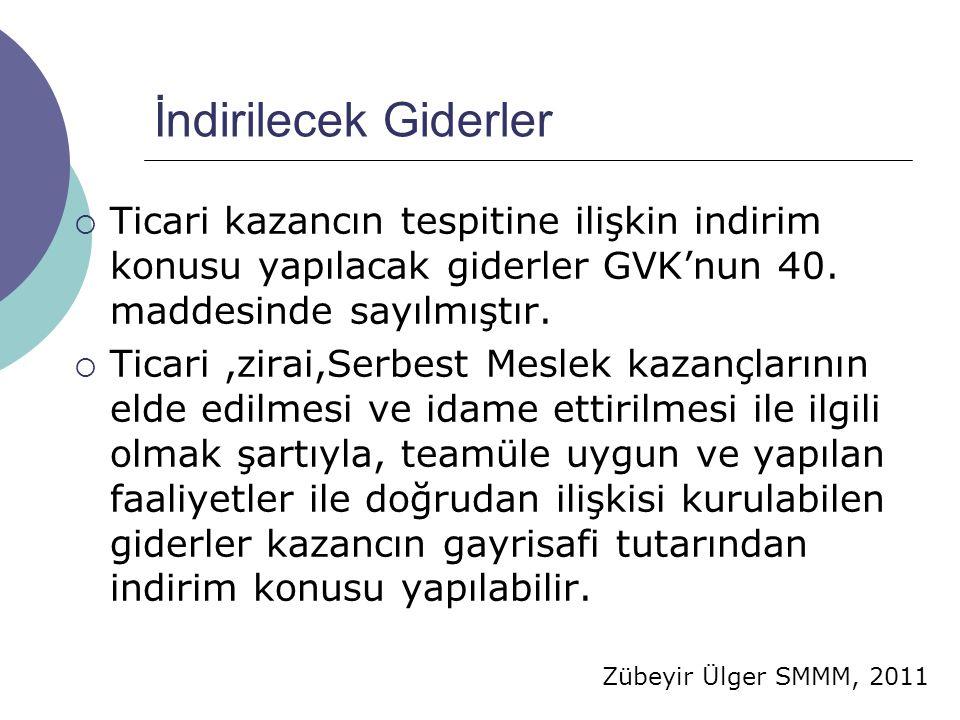 Zübeyir Ülger SMMM, 2011 İndirilecek Giderler  Ticari kazancın tespitine ilişkin indirim konusu yapılacak giderler GVK'nun 40.