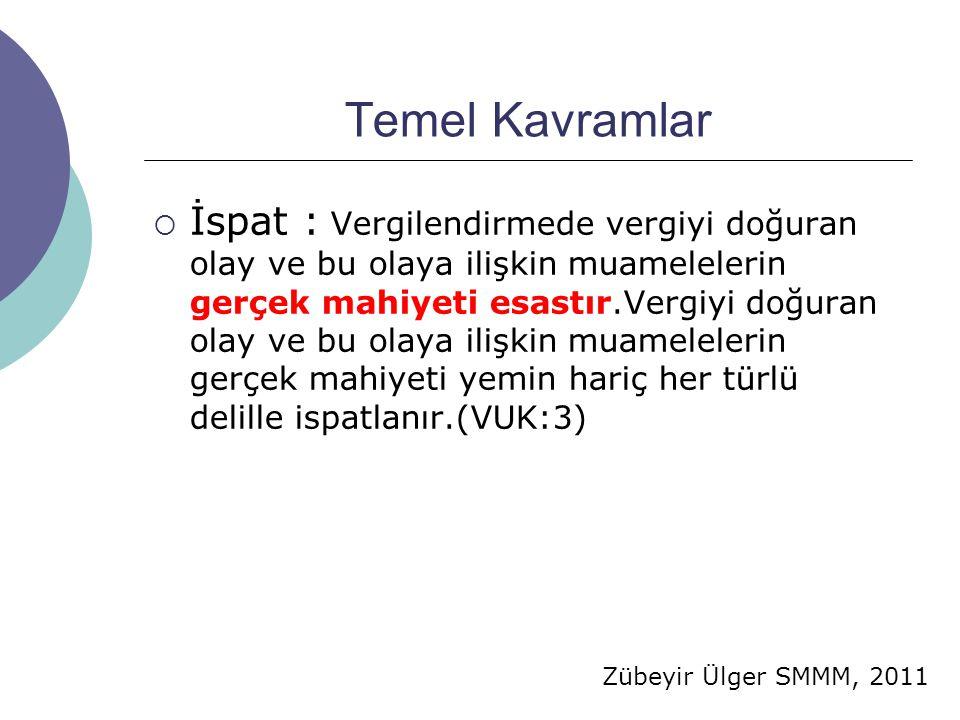 Zübeyir Ülger SMMM, 2011 Temel Kavramlar  İspat : Vergilendirmede vergiyi doğuran olay ve bu olaya ilişkin muamelelerin gerçek mahiyeti esastır.Vergi