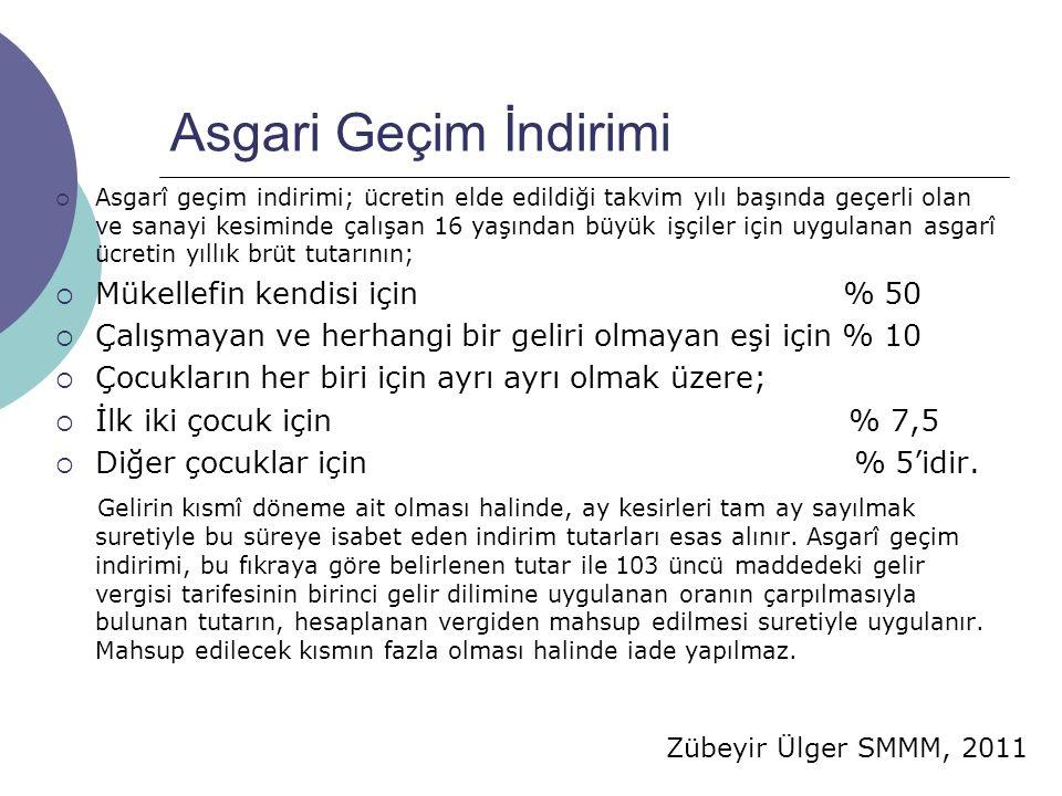 Zübeyir Ülger SMMM, 2011 Asgari Geçim İndirimi  Asgarî geçim indirimi; ücretin elde edildiği takvim yılı başında geçerli olan ve sanayi kesiminde çal