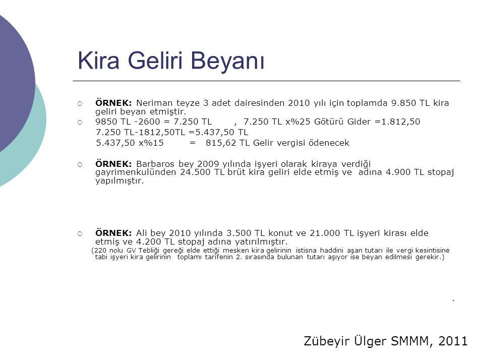 Zübeyir Ülger SMMM, 2011 Kira Geliri Beyanı  ÖRNEK: Neriman teyze 3 adet dairesinden 2010 yılı için toplamda 9.850 TL kira geliri beyan etmiştir.  9