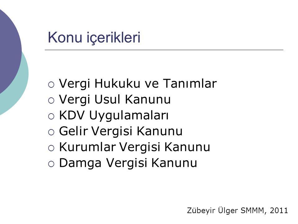 Zübeyir Ülger SMMM, 2011 KDV'nin Konusu Türkiye de yapılan aşağıdaki işlemler katma değer vergisine tabidir:  Ticari, sınai, zirai faaliyet ve serbest meslek faaliyeti çerçevesinde yapılan teslim ve hizmetler,  Her türlü mal ve hizmet ithalatı,  Diğer faaliyetlerden doğan teslim ve hizmetler;