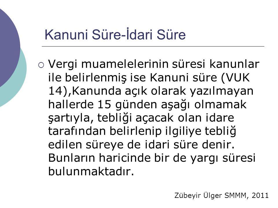 Zübeyir Ülger SMMM, 2011 Kanuni Süre-İdari Süre  Vergi muamelelerinin süresi kanunlar ile belirlenmiş ise Kanuni süre (VUK 14),Kanunda açık olarak ya