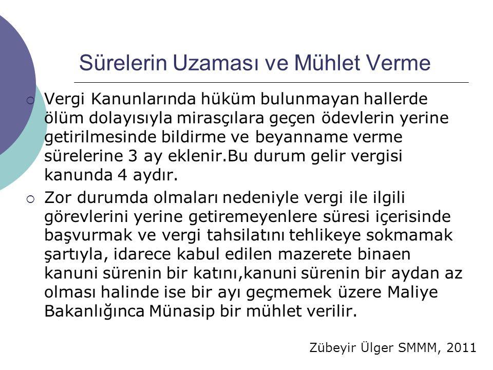 Zübeyir Ülger SMMM, 2011 Sürelerin Uzaması ve Mühlet Verme  Vergi Kanunlarında hüküm bulunmayan hallerde ölüm dolayısıyla mirasçılara geçen ödevlerin