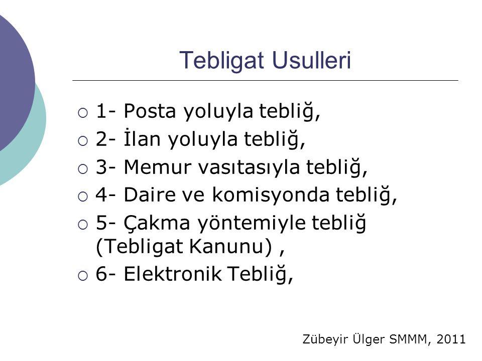 Zübeyir Ülger SMMM, 2011 Tebligat Usulleri  1- Posta yoluyla tebliğ,  2- İlan yoluyla tebliğ,  3- Memur vasıtasıyla tebliğ,  4- Daire ve komisyonda tebliğ,  5- Çakma yöntemiyle tebliğ (Tebligat Kanunu),  6- Elektronik Tebliğ,