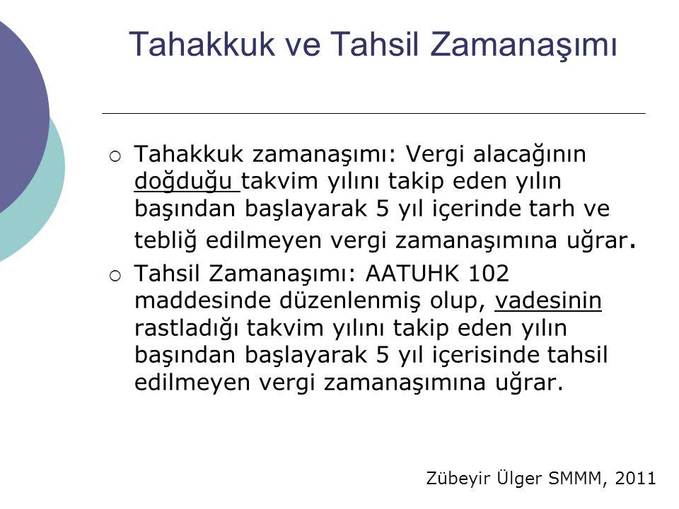 Zübeyir Ülger SMMM, 2011 Tahakkuk ve Tahsil Zamanaşımı  Tahakkuk zamanaşımı: Vergi alacağının doğduğu takvim yılını takip eden yılın başından başlayarak 5 yıl içerinde tarh ve tebliğ edilmeyen vergi zamanaşımına uğrar.