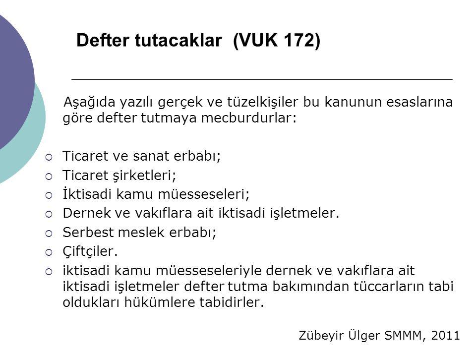 Zübeyir Ülger SMMM, 2011 Defter tutacaklar (VUK 172) Aşağıda yazılı gerçek ve tüzelkişiler bu kanunun esaslarına göre defter tutmaya mecburdurlar:  T
