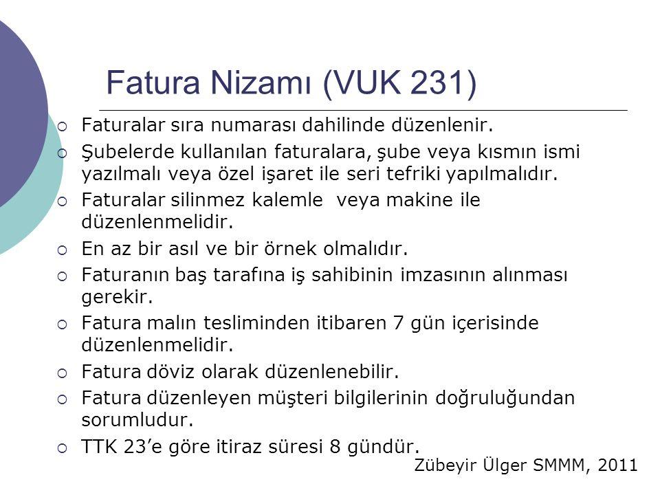 Zübeyir Ülger SMMM, 2011 Fatura Nizamı (VUK 231)  Faturalar sıra numarası dahilinde düzenlenir.