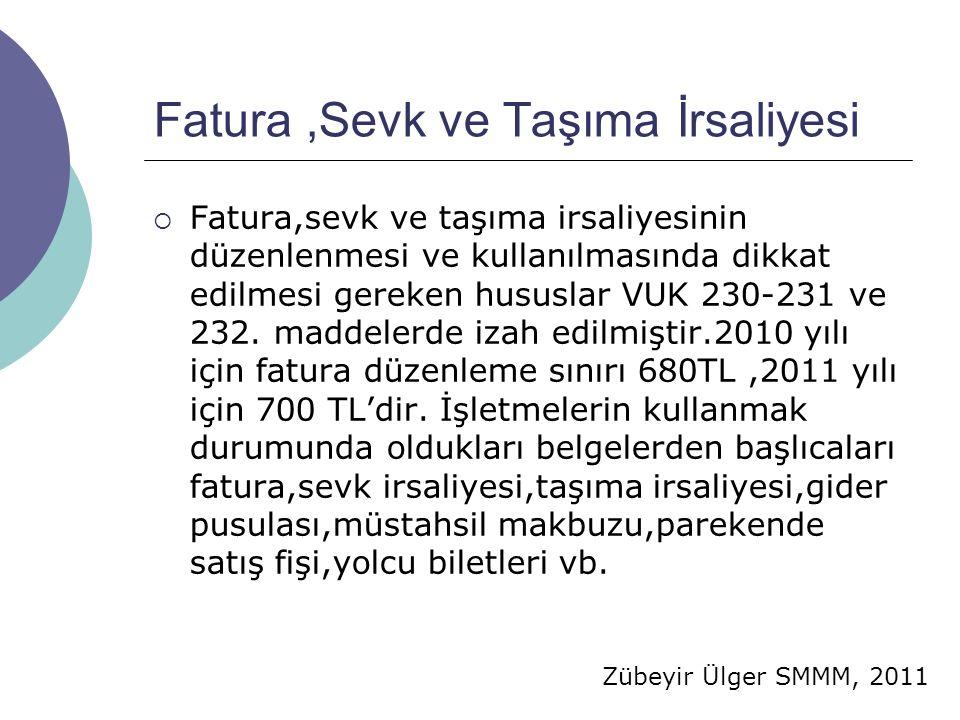 Zübeyir Ülger SMMM, 2011 Fatura,Sevk ve Taşıma İrsaliyesi  Fatura,sevk ve taşıma irsaliyesinin düzenlenmesi ve kullanılmasında dikkat edilmesi gereken hususlar VUK 230-231 ve 232.