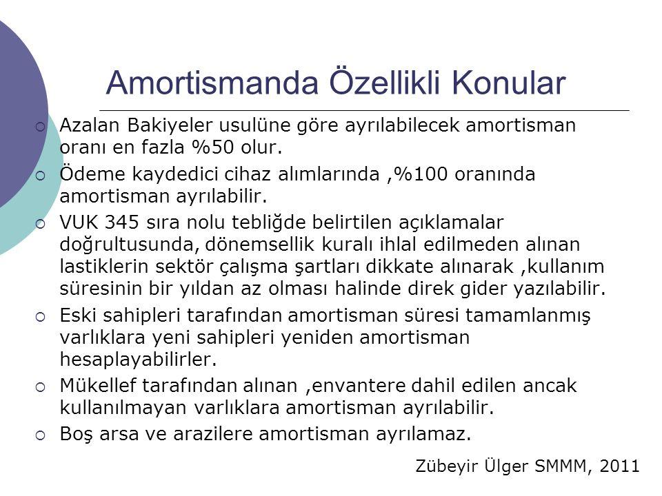 Zübeyir Ülger SMMM, 2011 Amortismanda Özellikli Konular  Azalan Bakiyeler usulüne göre ayrılabilecek amortisman oranı en fazla %50 olur.  Ödeme kayd
