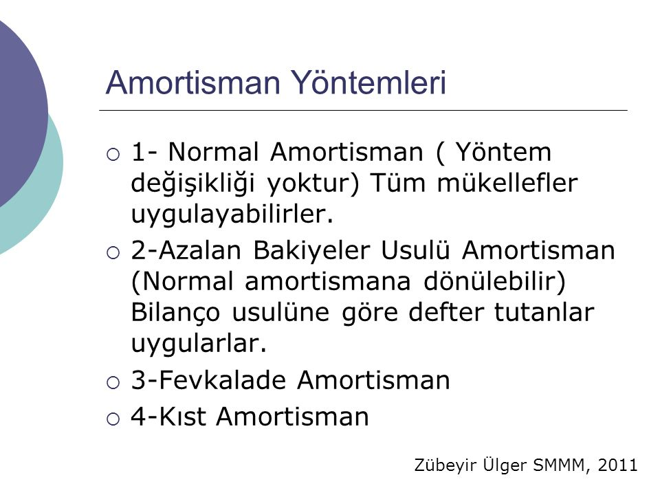 Zübeyir Ülger SMMM, 2011 Amortisman Yöntemleri  1- Normal Amortisman ( Yöntem değişikliği yoktur) Tüm mükellefler uygulayabilirler.  2-Azalan Bakiye