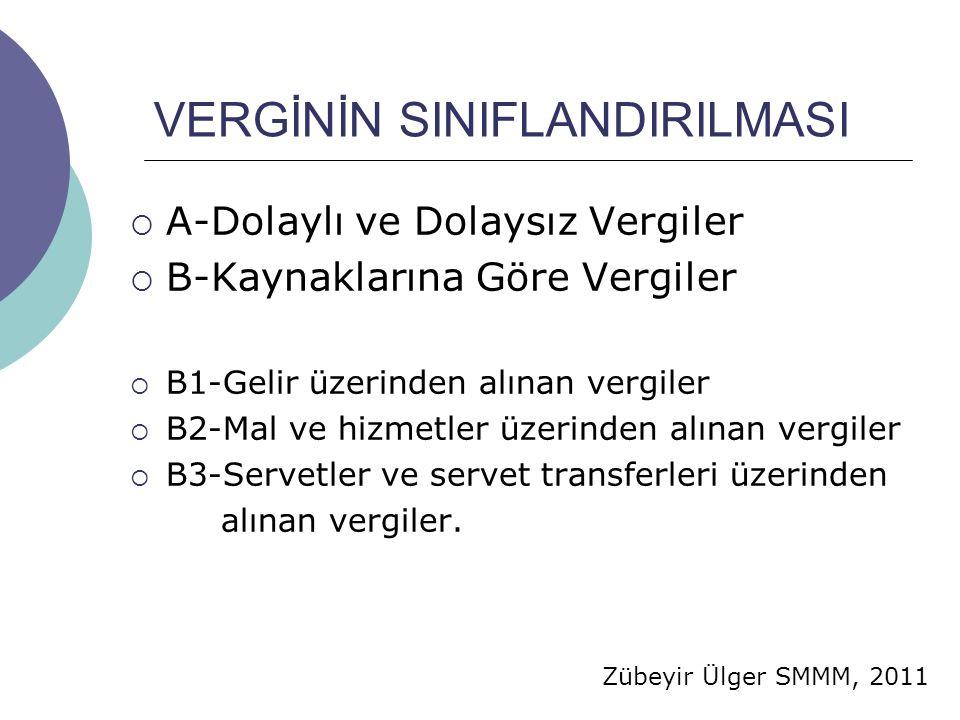 Zübeyir Ülger SMMM, 2011 VERGİNİN SINIFLANDIRILMASI  A-Dolaylı ve Dolaysız Vergiler  B-Kaynaklarına Göre Vergiler  B1-Gelir üzerinden alınan vergiler  B2-Mal ve hizmetler üzerinden alınan vergiler  B3-Servetler ve servet transferleri üzerinden alınan vergiler.