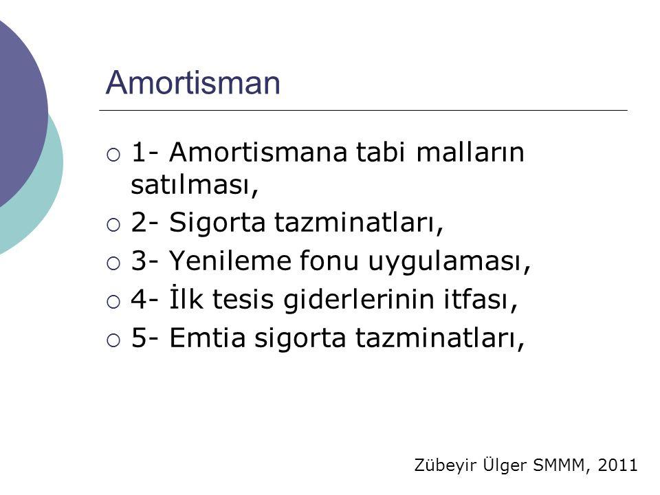 Zübeyir Ülger SMMM, 2011 Amortisman  1- Amortismana tabi malların satılması,  2- Sigorta tazminatları,  3- Yenileme fonu uygulaması,  4- İlk tesis giderlerinin itfası,  5- Emtia sigorta tazminatları,