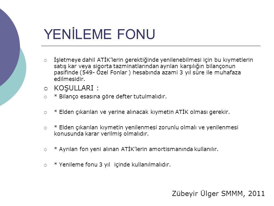 Zübeyir Ülger SMMM, 2011 YENİLEME FONU  İşletmeye dahil ATİK'lerin gerektiğinde yenilenebilmesi için bu kıymetlerin satış kar veya sigorta tazminatlarından ayrılan karşılığın bilançonun pasifinde (549- Özel Fonlar ) hesabında azami 3 yıl süre ile muhafaza edilmesidir.