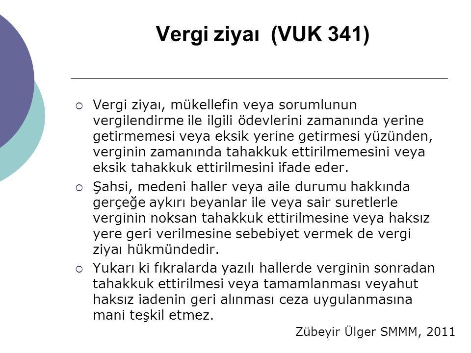 Zübeyir Ülger SMMM, 2011 Vergi ziyaı (VUK 341)  Vergi ziyaı, mükellefin veya sorumlunun vergilendirme ile ilgili ödevlerini zamanında yerine getirmem