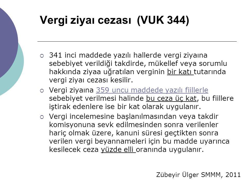 Zübeyir Ülger SMMM, 2011 Vergi ziyaı cezası (VUK 344)  341 inci maddede yazılı hallerde vergi ziyaına sebebiyet verildiği takdirde, mükellef veya sorumlu hakkında ziyaa uğratılan verginin bir katı tutarında vergi ziyaı cezası kesilir.