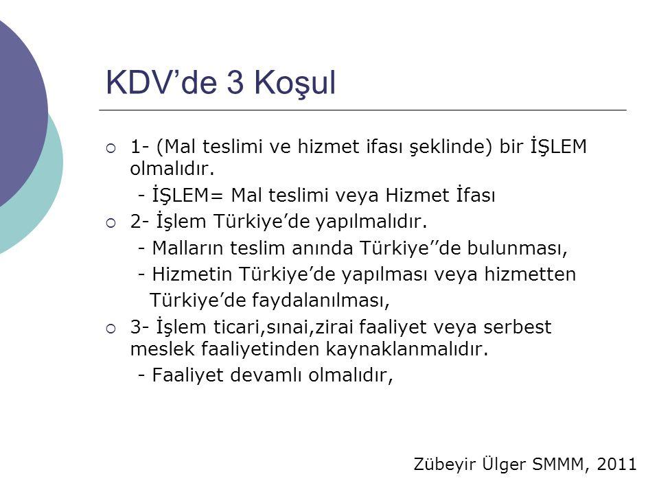 Zübeyir Ülger SMMM, 2011 KDV'de 3 Koşul  1- (Mal teslimi ve hizmet ifası şeklinde) bir İŞLEM olmalıdır. - İŞLEM= Mal teslimi veya Hizmet İfası  2- İ