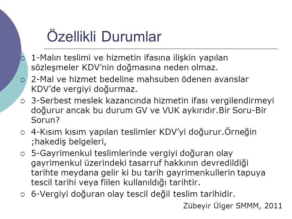 Zübeyir Ülger SMMM, 2011 Özellikli Durumlar  1-Malın teslimi ve hizmetin ifasına ilişkin yapılan sözleşmeler KDV'nin doğmasına neden olmaz.  2-Mal v