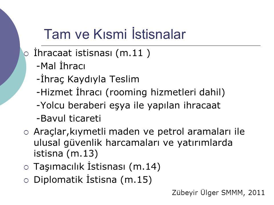 Zübeyir Ülger SMMM, 2011 Tam ve Kısmi İstisnalar  İhracaat istisnası (m.11 ) -Mal İhracı -İhraç Kaydıyla Teslim -Hizmet İhracı (rooming hizmetleri dahil) -Yolcu beraberi eşya ile yapılan ihracaat -Bavul ticareti  Araçlar,kıymetli maden ve petrol aramaları ile ulusal güvenlik harcamaları ve yatırımlarda istisna (m.13)  Taşımacılık İstisnası (m.14)  Diplomatik İstisna (m.15)