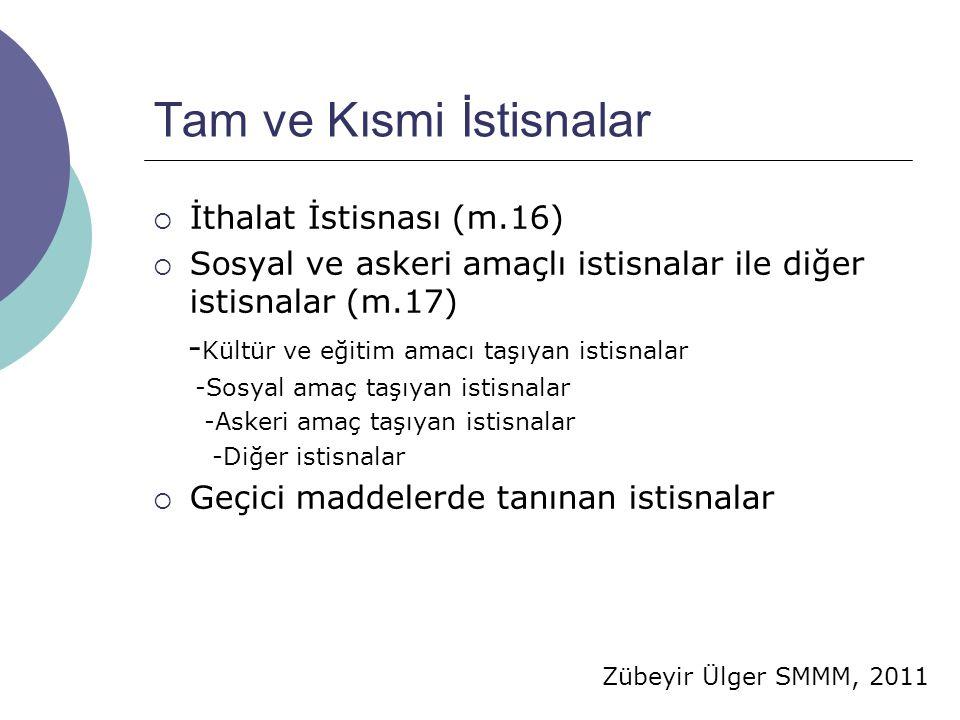 Zübeyir Ülger SMMM, 2011 Tam ve Kısmi İstisnalar  İthalat İstisnası (m.16)  Sosyal ve askeri amaçlı istisnalar ile diğer istisnalar (m.17) - Kültür