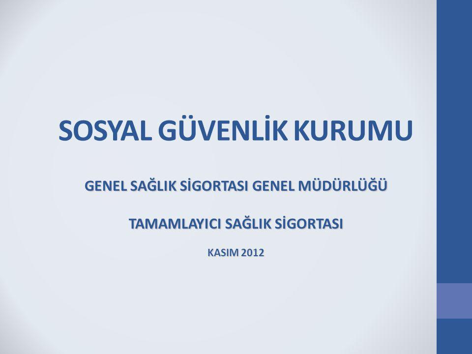 SOSYAL GÜVENLİK KURUMU GENEL SAĞLIK SİGORTASI GENEL MÜDÜRLÜĞÜ TAMAMLAYICI SAĞLIK SİGORTASI KASIM 2012