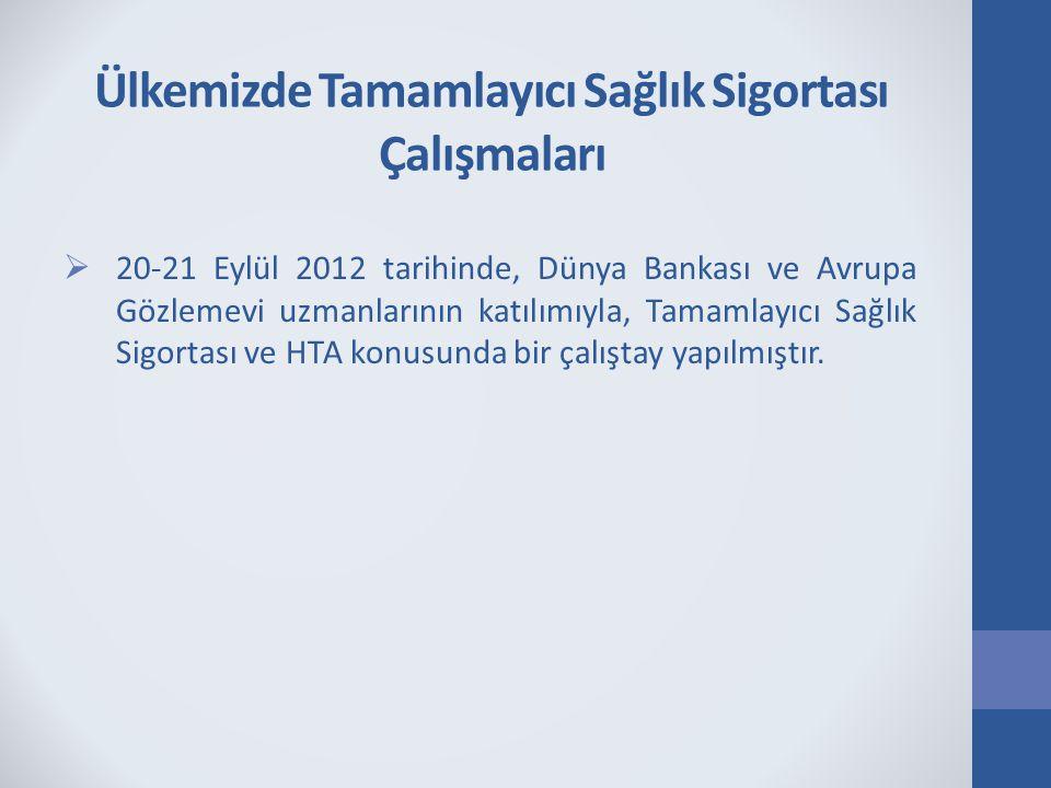 Ülkemizde Tamamlayıcı Sağlık Sigortası Çalışmaları  20-21 Eylül 2012 tarihinde, Dünya Bankası ve Avrupa Gözlemevi uzmanlarının katılımıyla, Tamamlayı