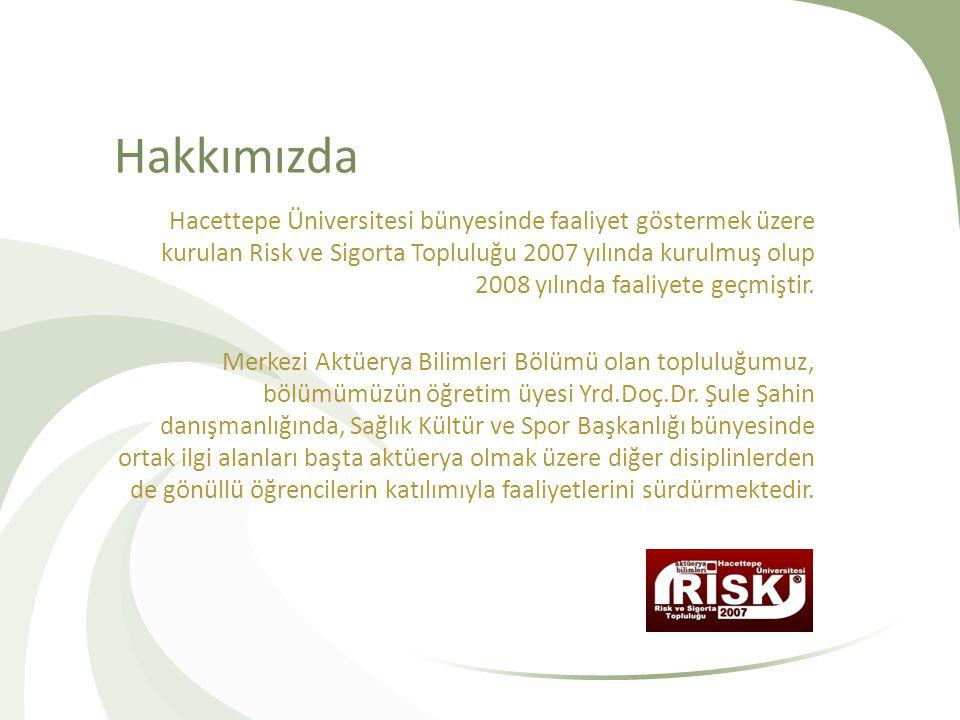 Hakkımızda Hacettepe Üniversitesi bünyesinde faaliyet göstermek üzere kurulan Risk ve Sigorta Topluluğu 2007 yılında kurulmuş olup 2008 yılında faaliy