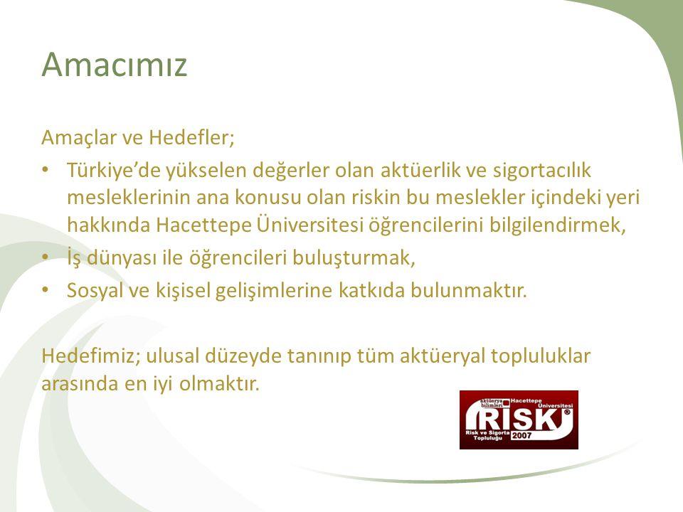 Amacımız Amaçlar ve Hedefler; • Türkiye'de yükselen değerler olan aktüerlik ve sigortacılık mesleklerinin ana konusu olan riskin bu meslekler içindeki