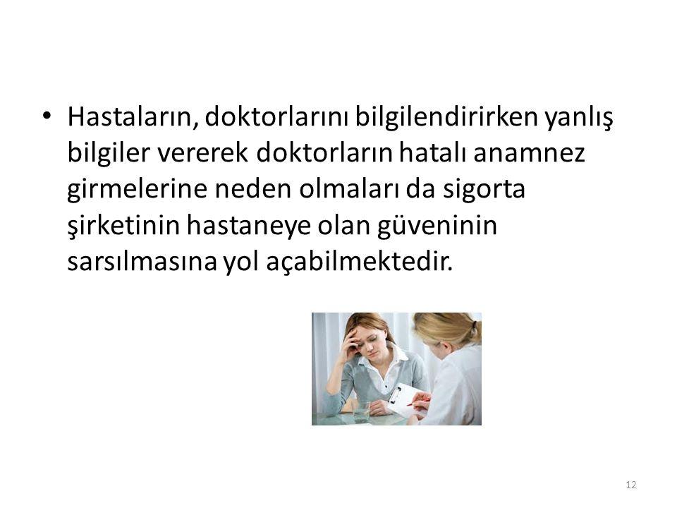 • Hastaların, doktorlarını bilgilendirirken yanlış bilgiler vererek doktorların hatalı anamnez girmelerine neden olmaları da sigorta şirketinin hastan