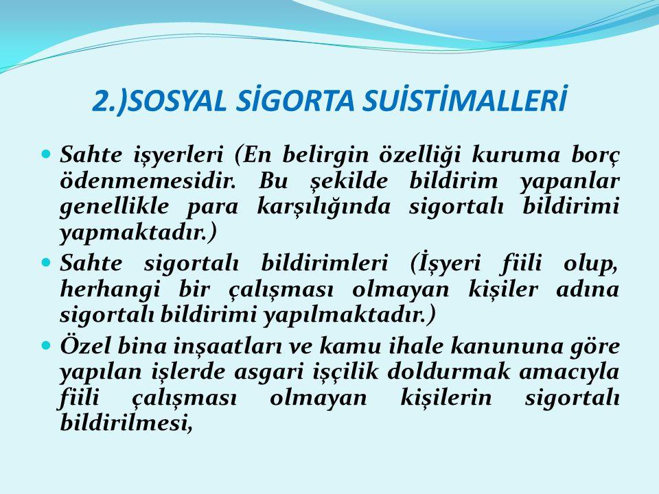 2.)SOSYAL SİGORTA SUİSTİMALLERİ  Sahte işyerleri (En belirgin özelliği kuruma borç ödenmemesidir.