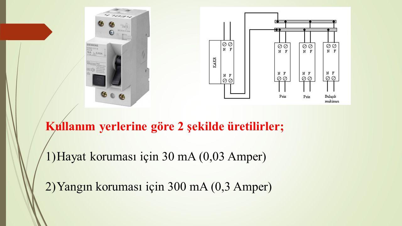 Kullanım yerlerine göre 2 şekilde üretilirler; 1)Hayat koruması için 30 mA (0,03 Amper) 2)Yangın koruması için 300 mA (0,3 Amper)