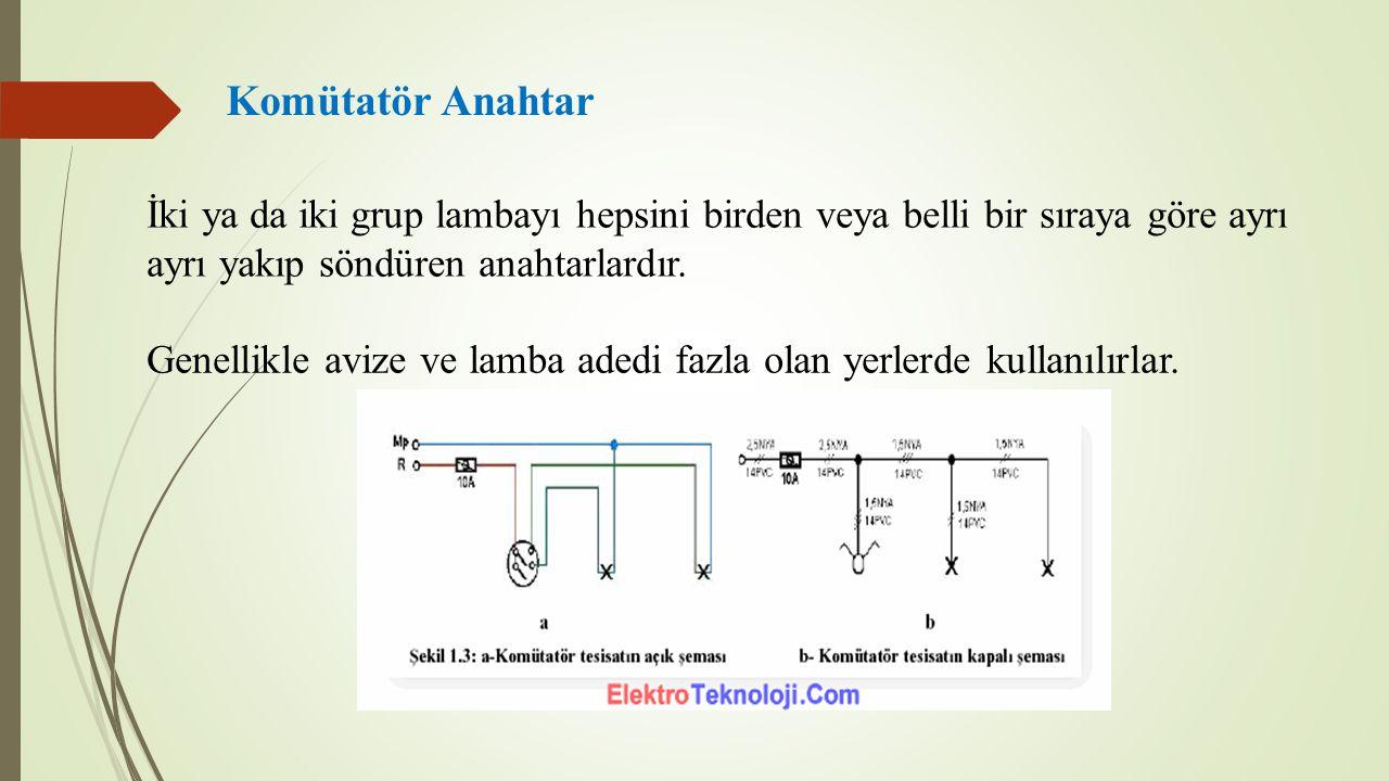 Komütatör Anahtar İki ya da iki grup lambayı hepsini birden veya belli bir sıraya göre ayrı ayrı yakıp söndüren anahtarlardır. Genellikle avize ve lam