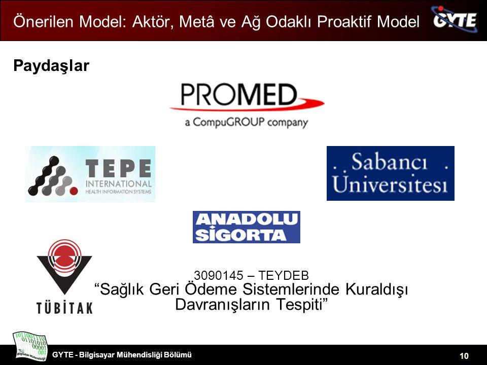 GYTE - Bilgisayar Mühendisliği Bölümü 10 Önerilen Model: Aktör, Metâ ve Ağ Odaklı Proaktif Model Paydaşlar 3090145 – TEYDEB Sağlık Geri Ödeme Sistemlerinde Kuraldışı Davranışların Tespiti
