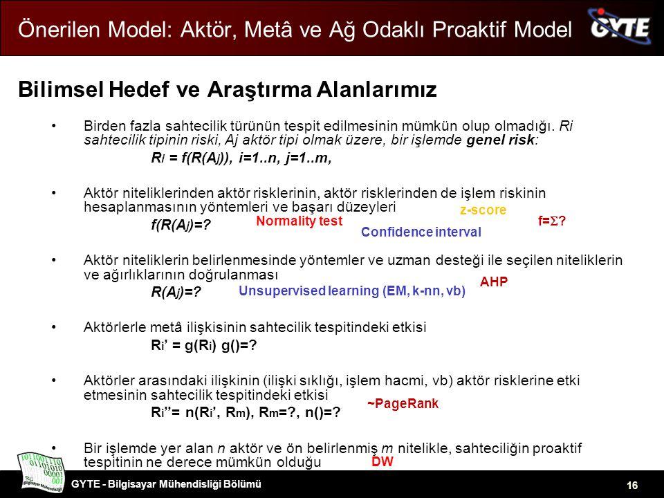GYTE - Bilgisayar Mühendisliği Bölümü 16 Önerilen Model: Aktör, Metâ ve Ağ Odaklı Proaktif Model Bilimsel Hedef ve Araştırma Alanlarımız •Birden fazla sahtecilik türünün tespit edilmesinin mümkün olup olmadığı.