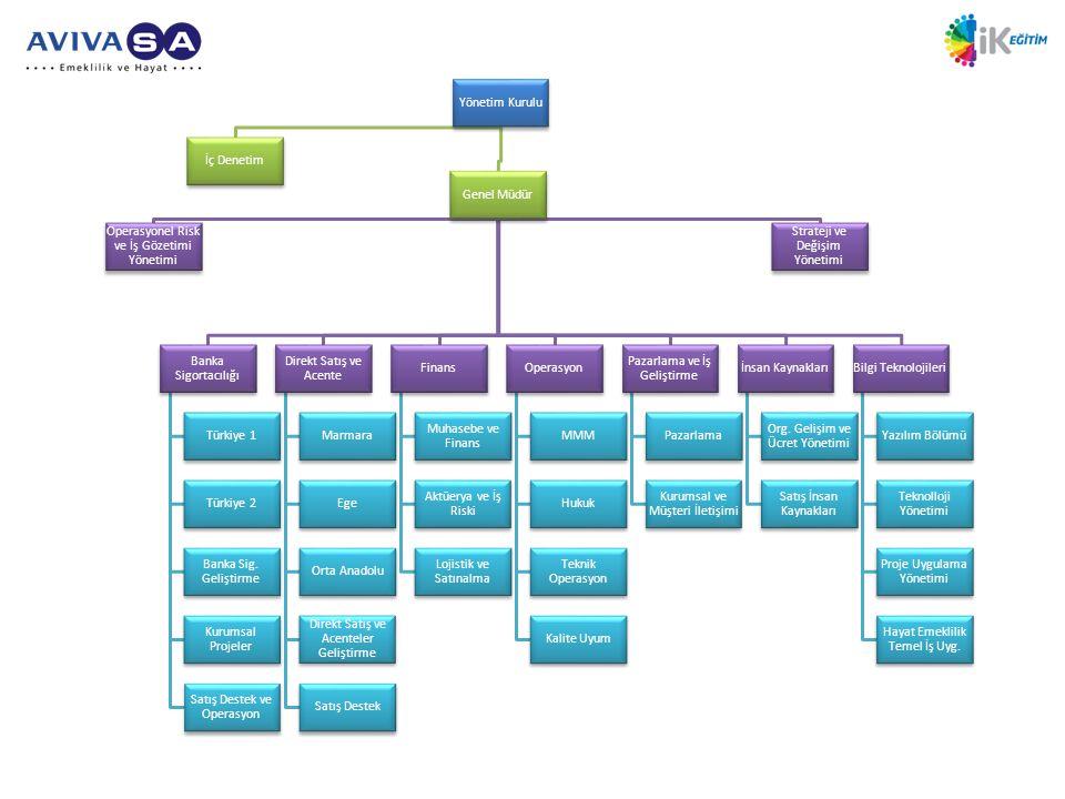 Yönetim Kurulu İç Denetim Genel Müdür Operasyonel Risk ve İş Gözetimi Yönetimi Strateji ve Değişim Yönetimi Banka Sigortacılığı Türkiye 1 Türkiye 2 Banka Sig.