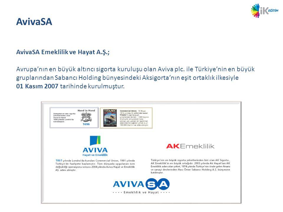 AvivaSA Emeklilik ve Hayat A.Ş.; Avrupa'nın en büyük altıncı sigorta kuruluşu olan Aviva plc. ile Türkiye'nin en büyük gruplarından Sabancı Holding bü