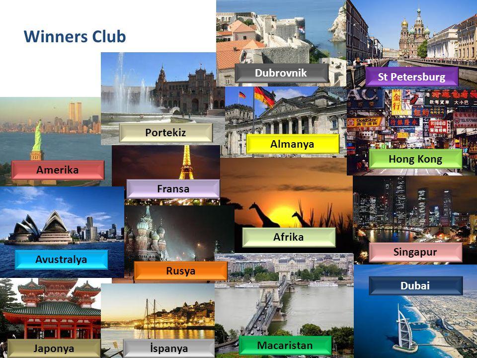 Winners Club Portekiz Amerika Almanya Avustralya Fransa Afrika Singapur İspanya Dubai Hong Kong Japonya Macaristan Rusya St Petersburg Dubrovnik