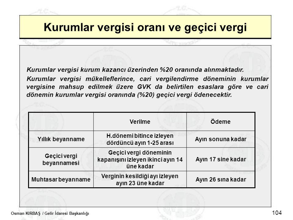 Osman KIRBAŞ / Gelir İdaresi Başkanlığı 104 Kurumlar vergisi oranı ve geçici vergi Kurumlar vergisi kurum kazancı üzerinden %20 oranında alınmaktadır.