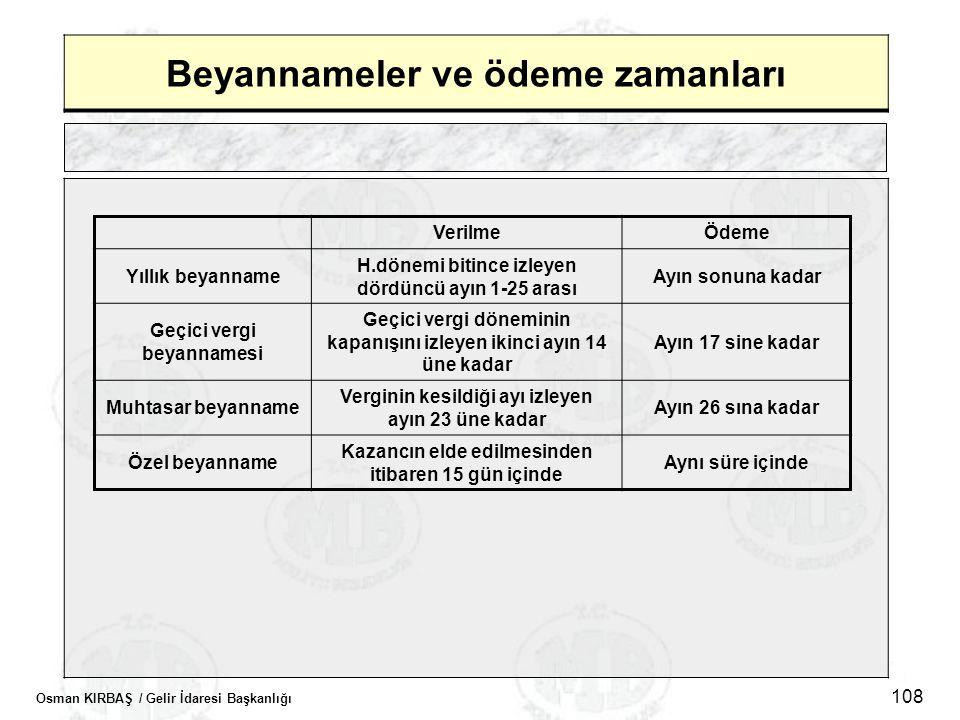 Osman KIRBAŞ / Gelir İdaresi Başkanlığı 108 Beyannameler ve ödeme zamanları VerilmeÖdeme Yıllık beyanname H.dönemi bitince izleyen dördüncü ayın 1-25