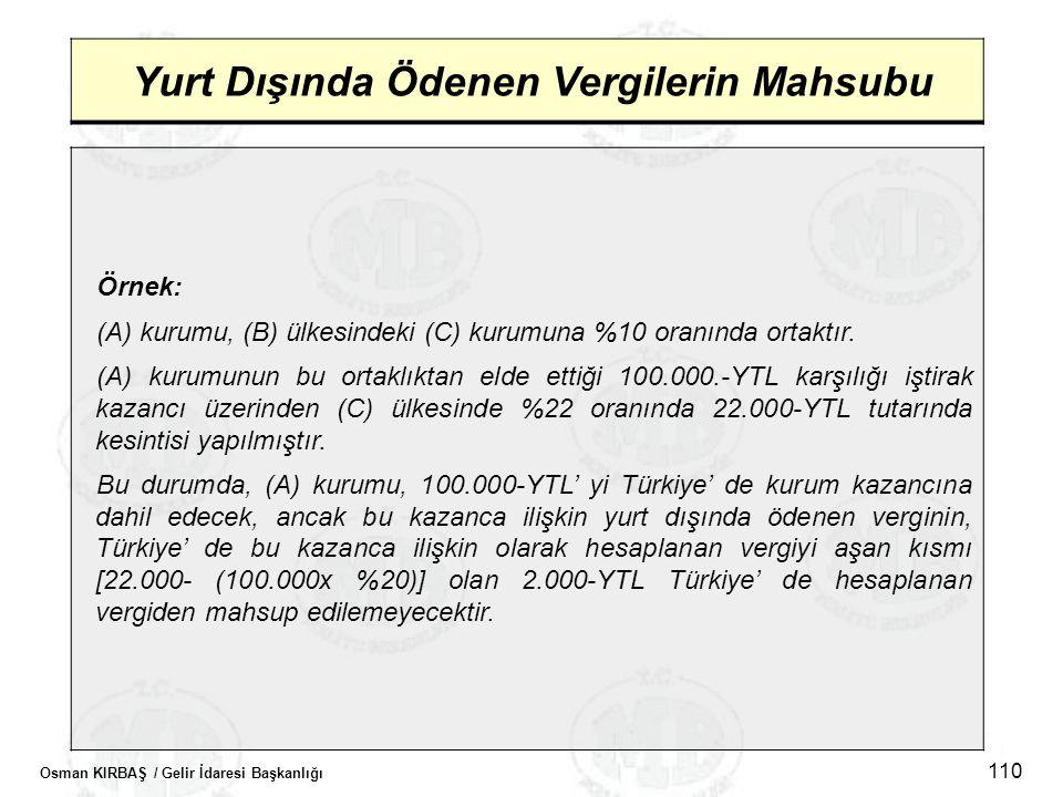 Osman KIRBAŞ / Gelir İdaresi Başkanlığı 110 Yurt Dışında Ödenen Vergilerin Mahsubu Örnek: (A) kurumu, (B) ülkesindeki (C) kurumuna %10 oranında ortakt