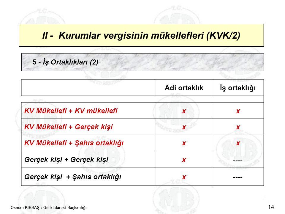 Osman KIRBAŞ / Gelir İdaresi Başkanlığı 14 II - Kurumlar vergisinin mükellefleri (KVK/2) 5 - İş Ortaklıkları (2) Adi ortaklıkİş ortaklığı KV Mükellefi