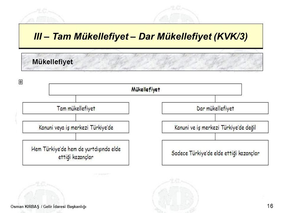 Osman KIRBAŞ / Gelir İdaresi Başkanlığı 16 III – Tam Mükellefiyet – Dar Mükellefiyet (KVK/3) Mükellefiyet