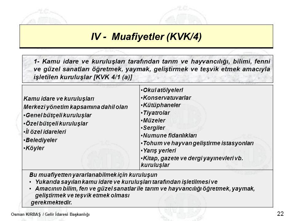 Osman KIRBAŞ / Gelir İdaresi Başkanlığı 22 IV - Muafiyetler (KVK/4) 1- Kamu idare ve kuruluşları tarafından tarım ve hayvancılığı, bilimi, fenni ve gü